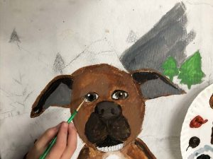 Student Working On Dog Portrait Painting